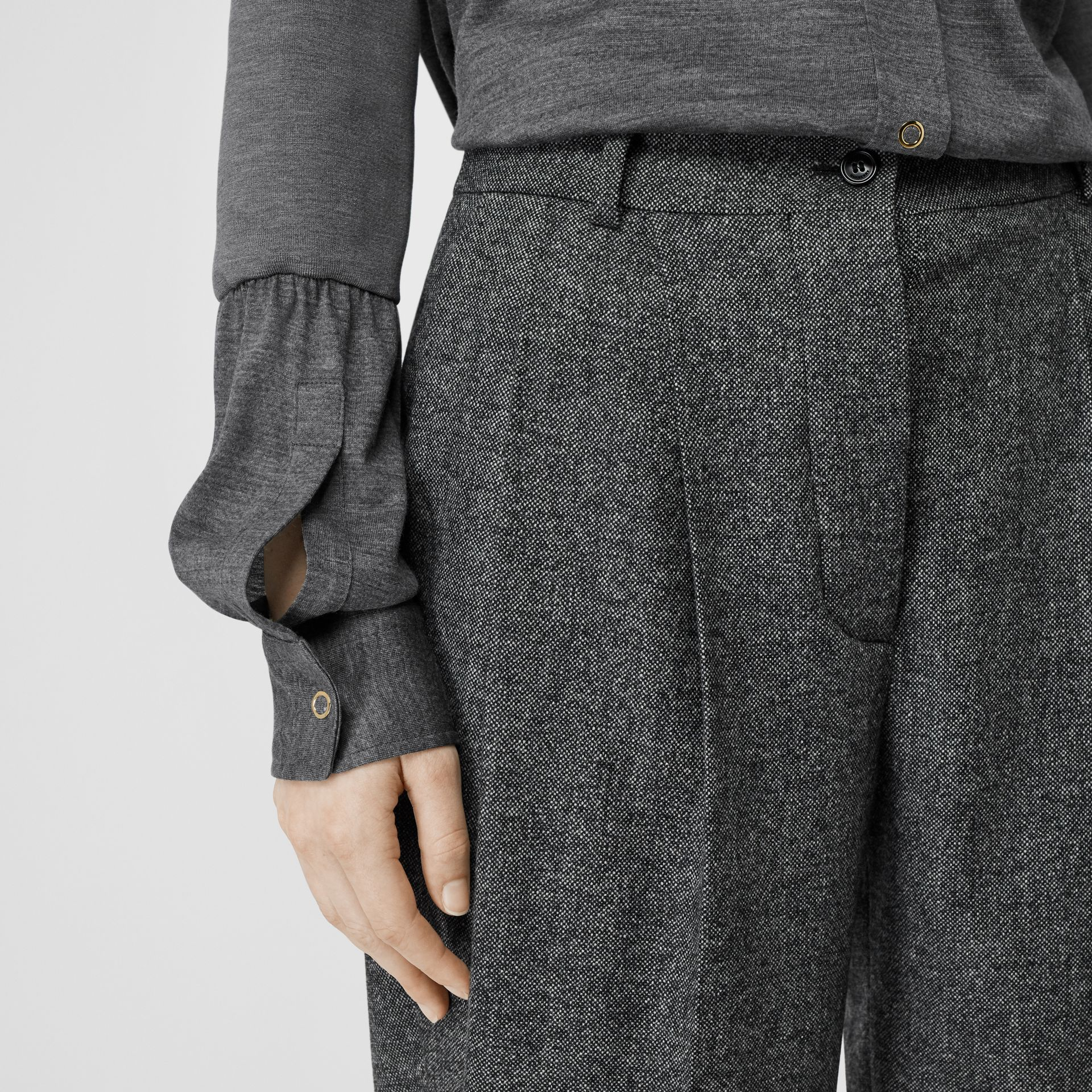 Belt Detail Wool Cashmere Tweed Tailored Trousers in Black Melange - Women | Burberry United Kingdom - gallery image 4