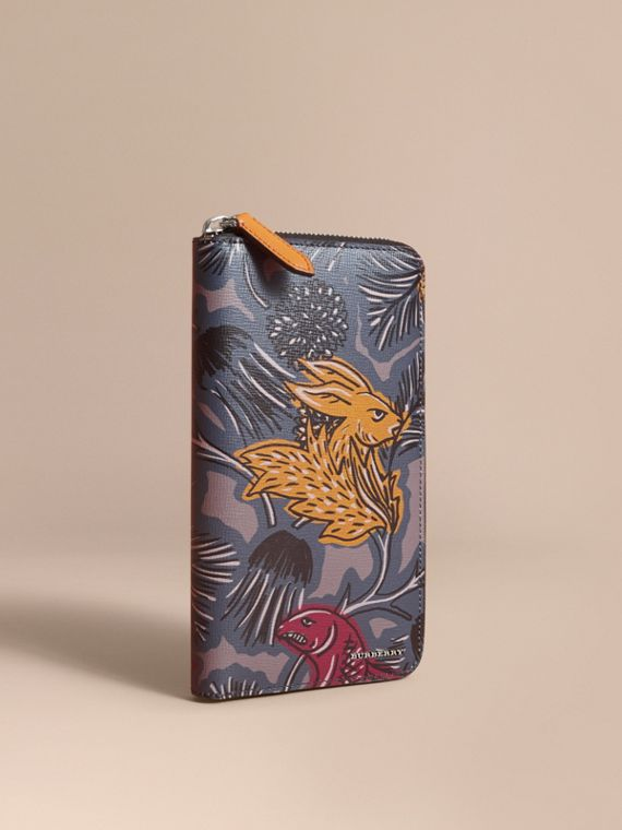 Beasts Print Leather Ziparound Wallet in Navy Grey