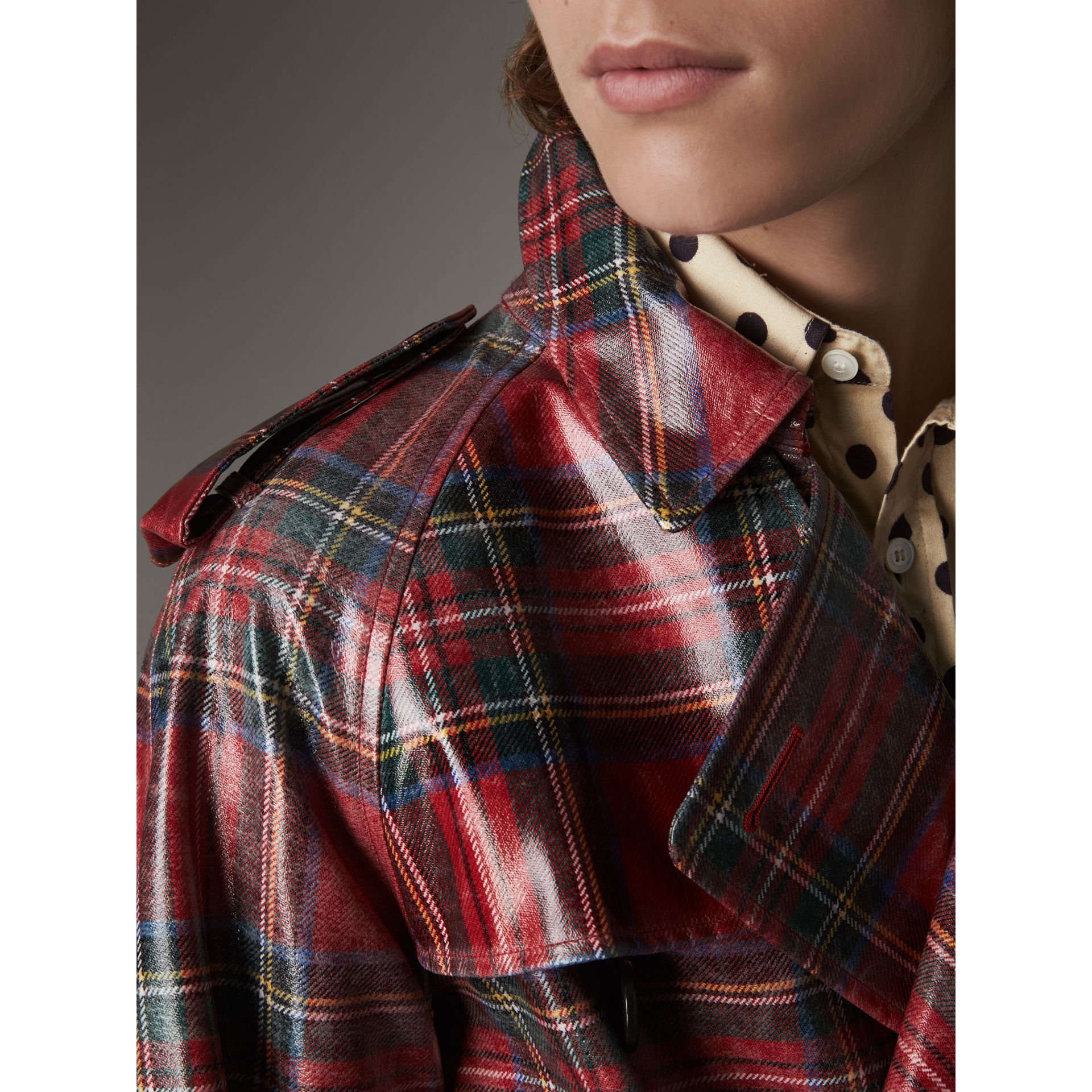 Laminated Tartan Wool Trench Coat in Bright Red - Men | Burberry Hong Kong - gallery image 1