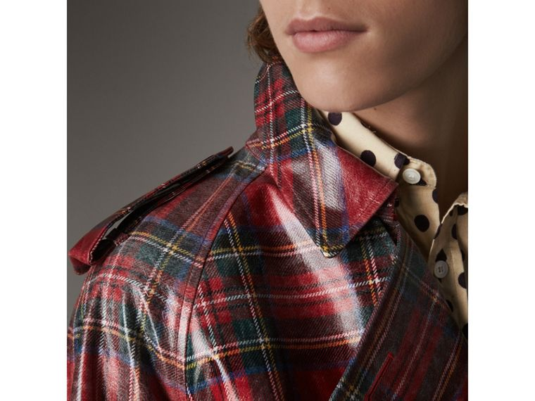 Laminated Tartan Wool Trench Coat in Bright Red - Men | Burberry United States - cell image 1