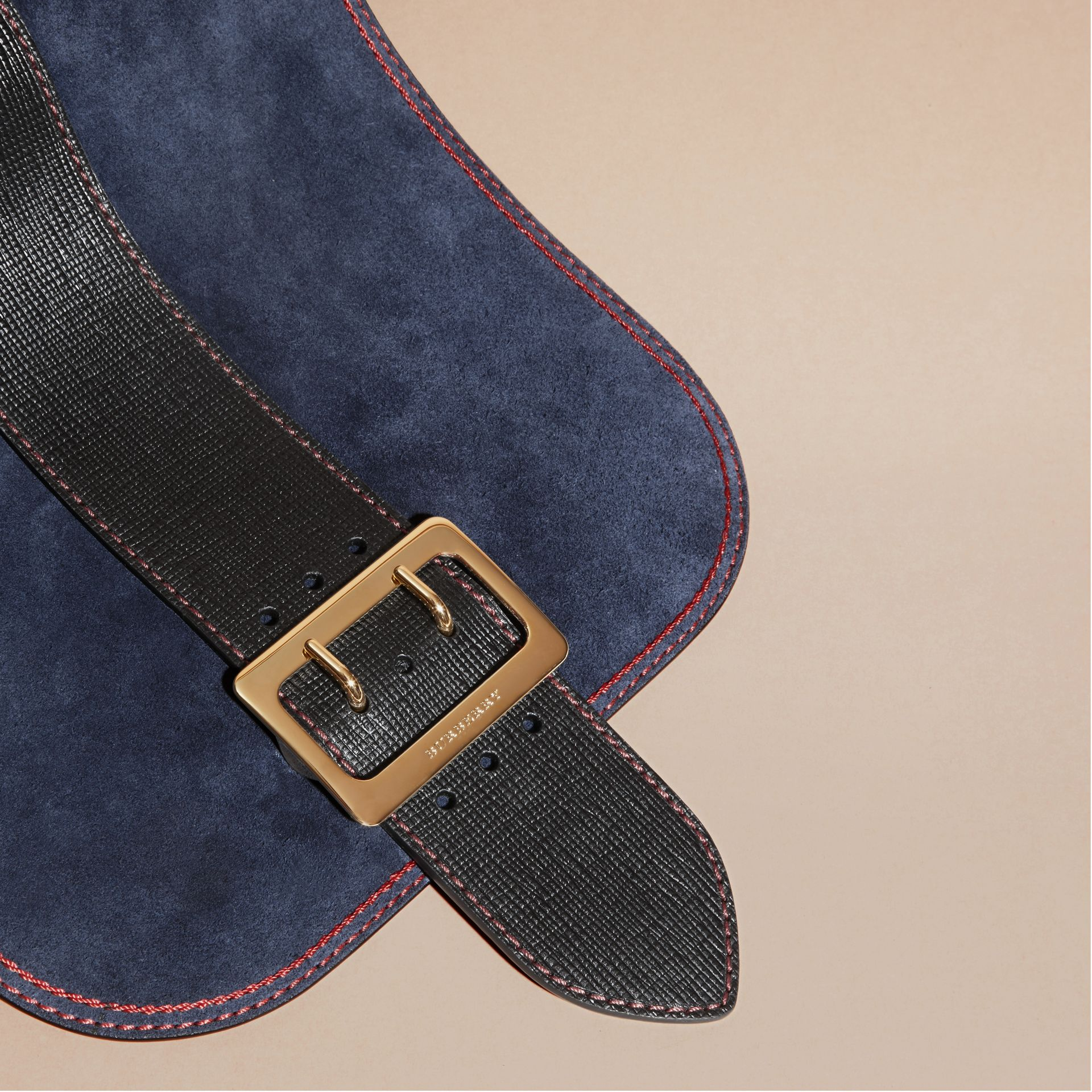 Navy The Buckle Satchel in Suede with Topstitching Navy - gallery image 2