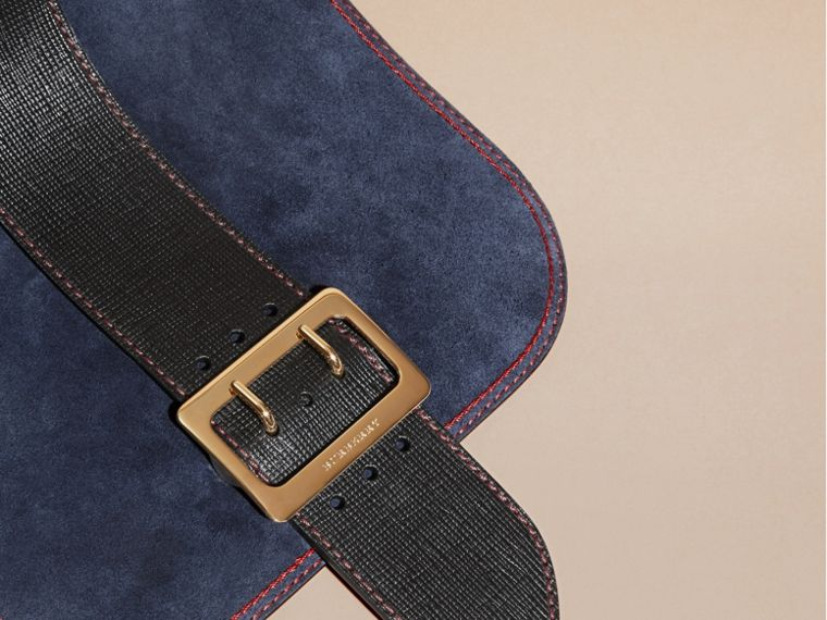 Navy The Buckle Satchel in Suede with Topstitching Navy - cell image 1