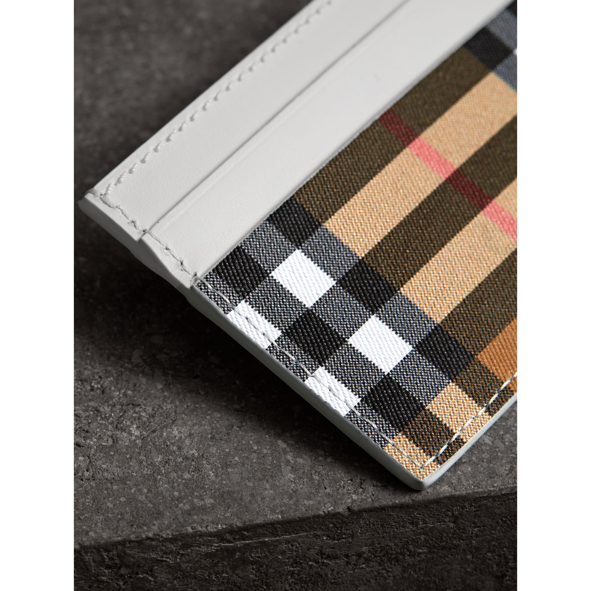 Vintage Check and Leather Card Case in Chalk White | Burberry - gallery image 1