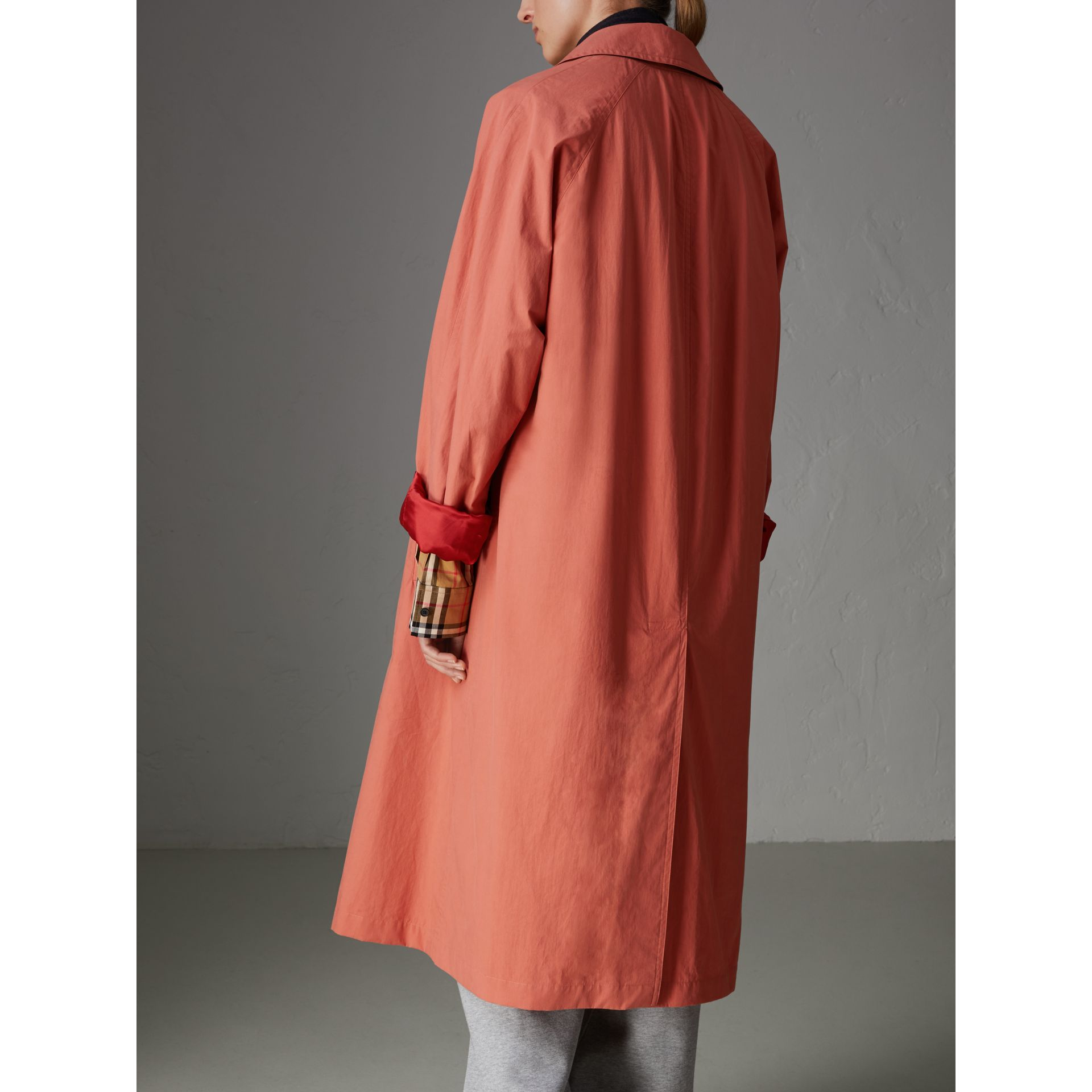 Reissued Cotton Car Coat with Detachable Warmer in Coral - Women | Burberry - gallery image 2