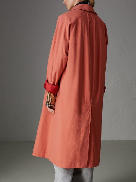 Reissued Cotton Car Coat with Detachable Warmer in Coral - Women | Burberry - cell image 2