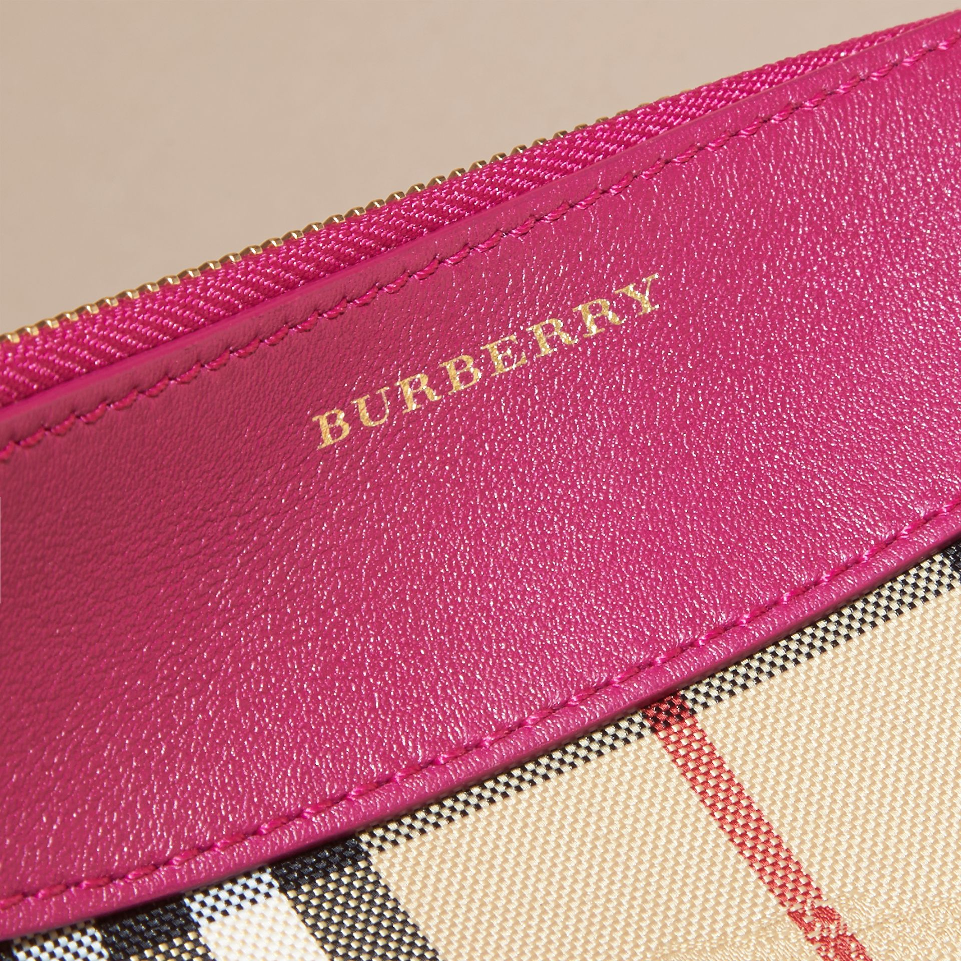 Horseferry Check and Leather Clutch Bag Brilliant Fuchsia - gallery image 2