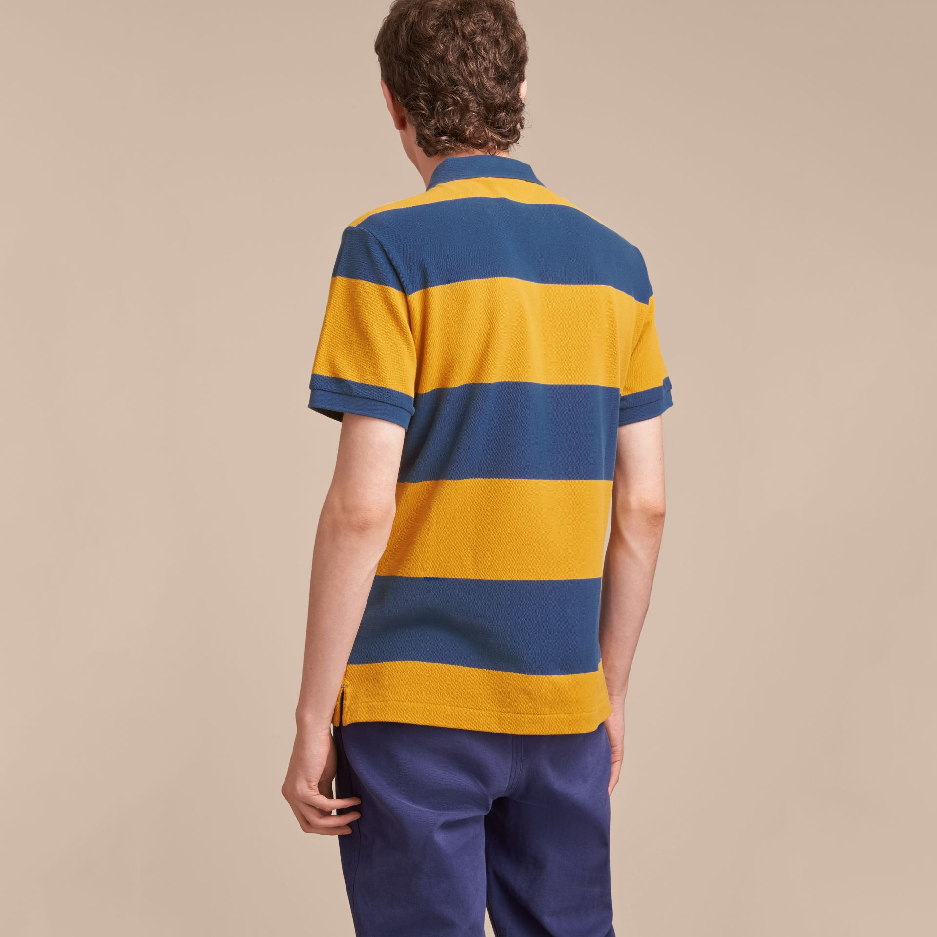 Striped Cotton Piqué Polo Shirt in Ochre Yellow/bright Navy - Men | Burberry - gallery image 3