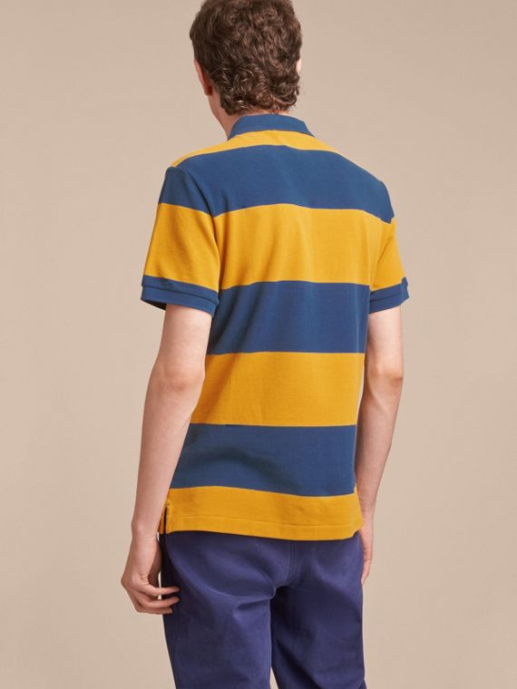 Striped Cotton Piqué Polo Shirt in Ochre Yellow/bright Navy - Men | Burberry - cell image 2