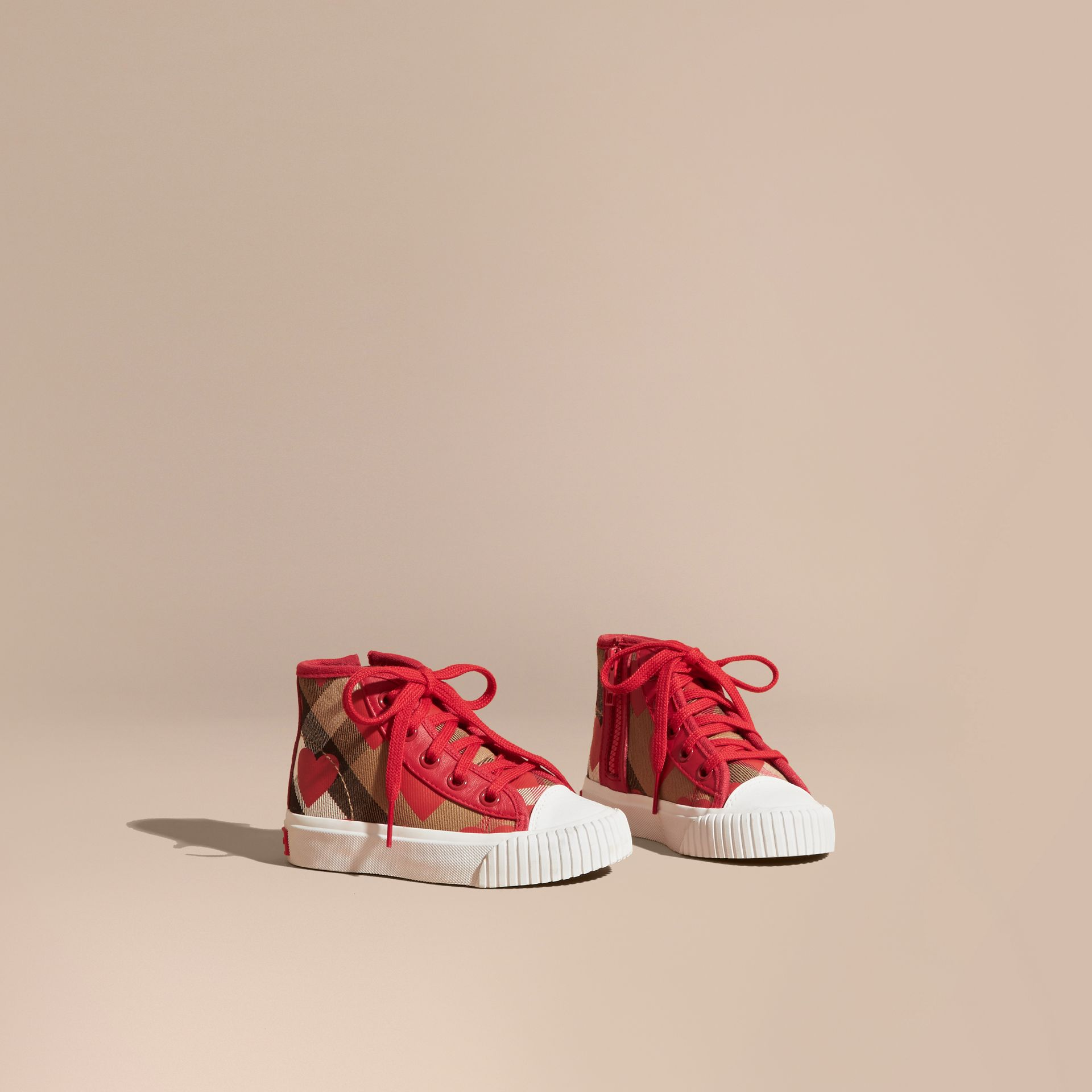Military red Leather Trim Heart Print Check High-top Trainers Military Red - gallery image 1