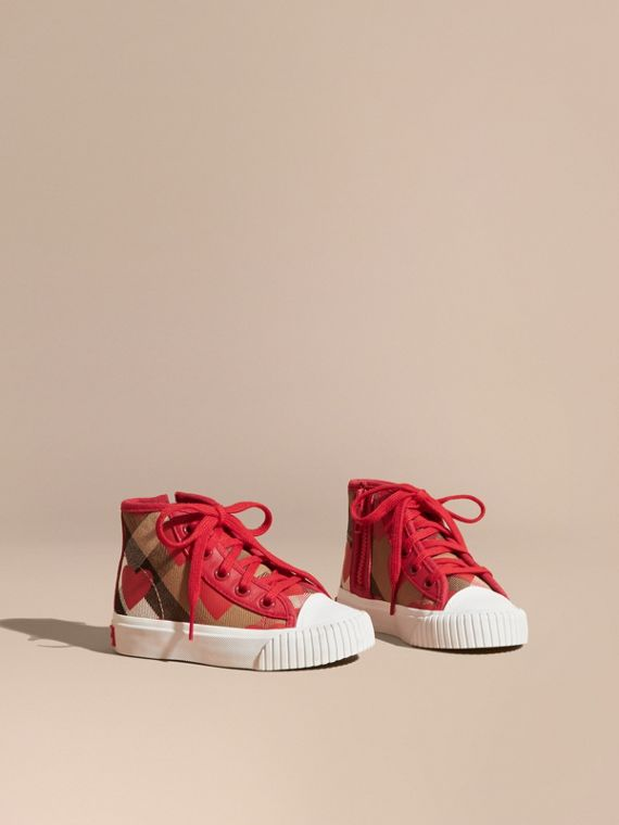 Leather Trim Heart Print Check High-top Trainers Military Red