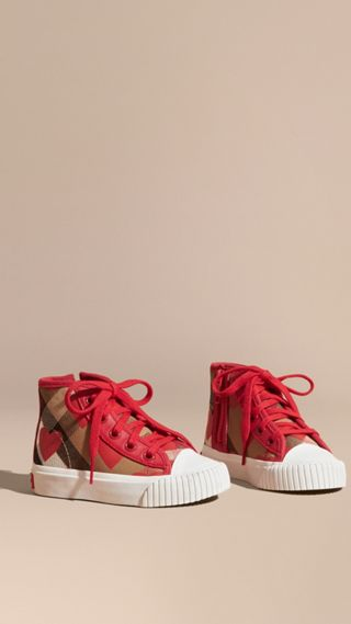 Leather Trim Heart Print Check High-top Trainers