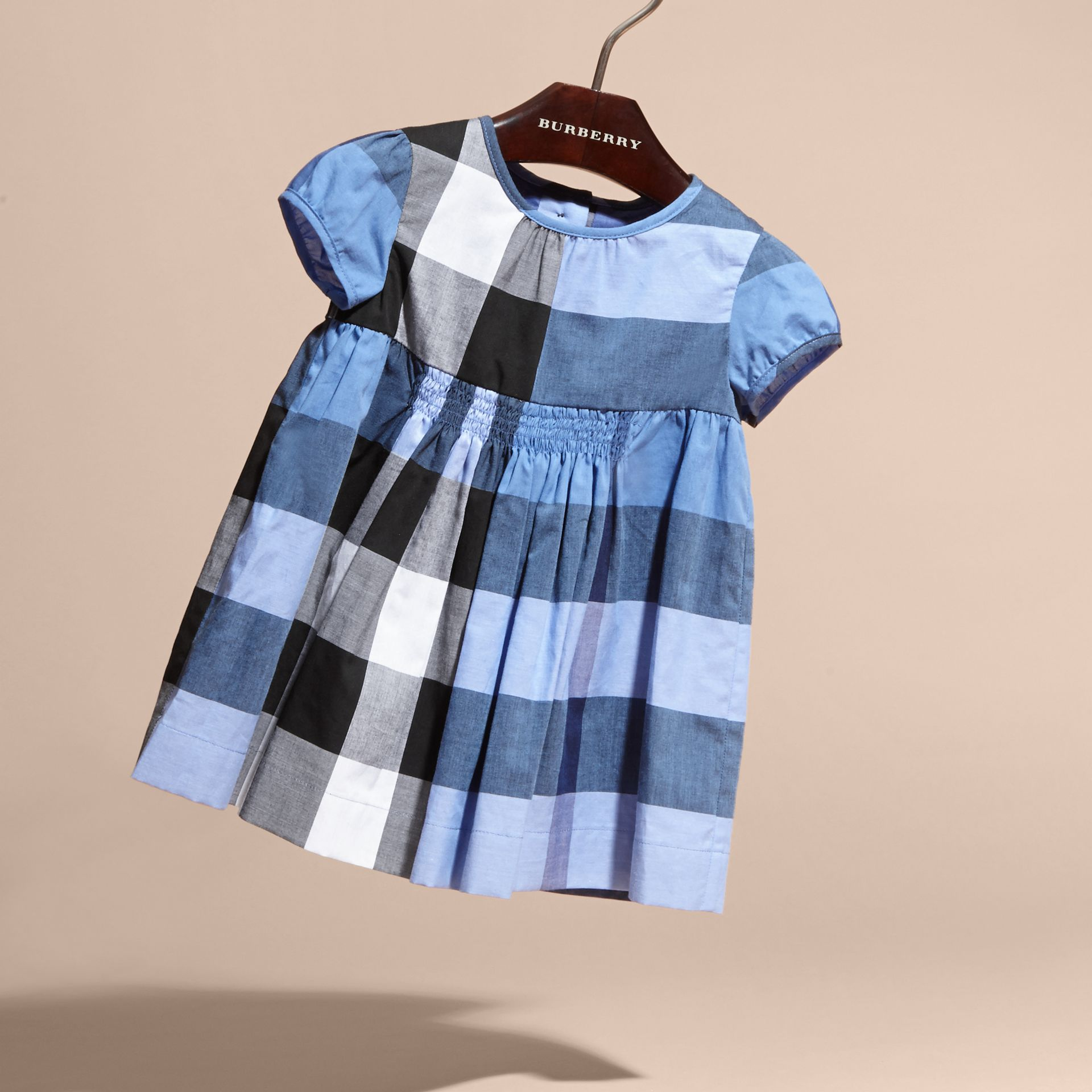 Cap-sleeved Check Cotton Voile Dress Hydrangea Blue - gallery image 3
