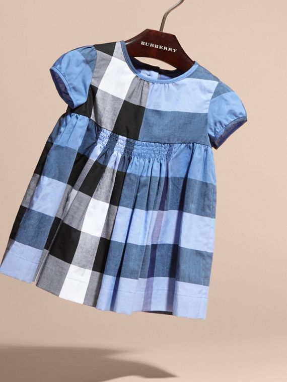 Cap-sleeved Check Cotton Voile Dress Hydrangea Blue - cell image 2