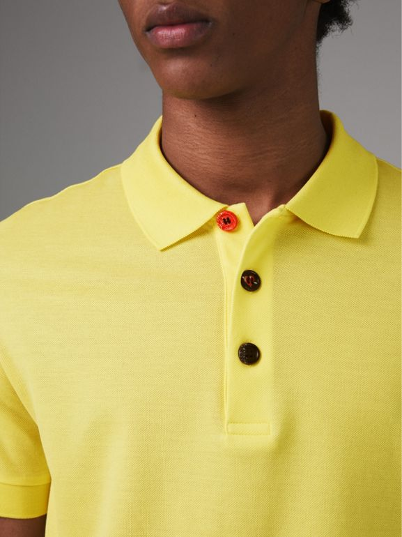 Painted Button Cotton Piqué Polo Shirt in Vibrant Lemon - Men | Burberry - cell image 1
