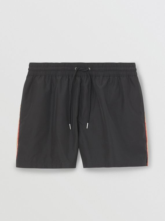 Icon Stripe Detail Drawcord Swim Shorts in Black