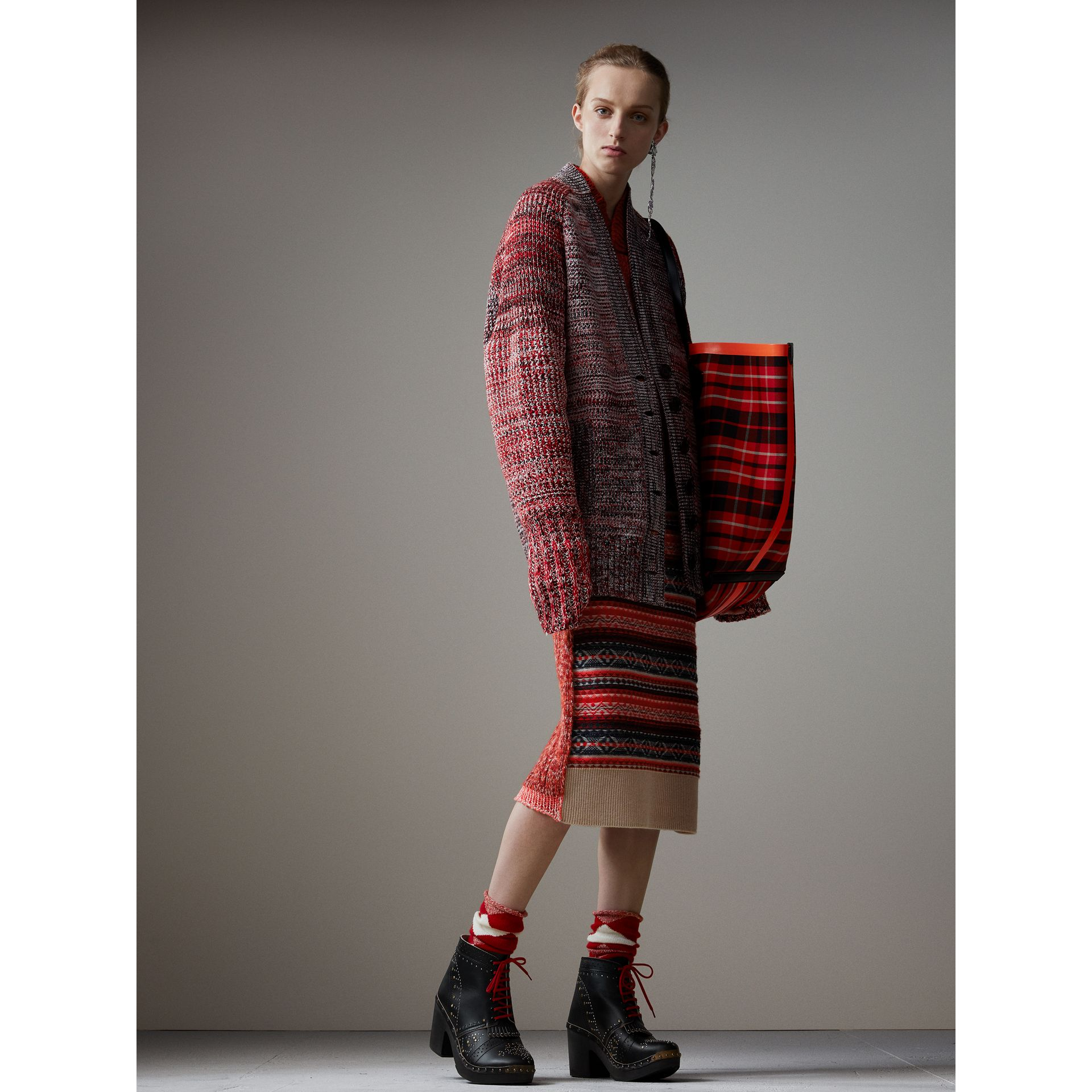 Cashmere Wool Patchwork Sweater in Berry Red - Women | Burberry Australia - gallery image 5