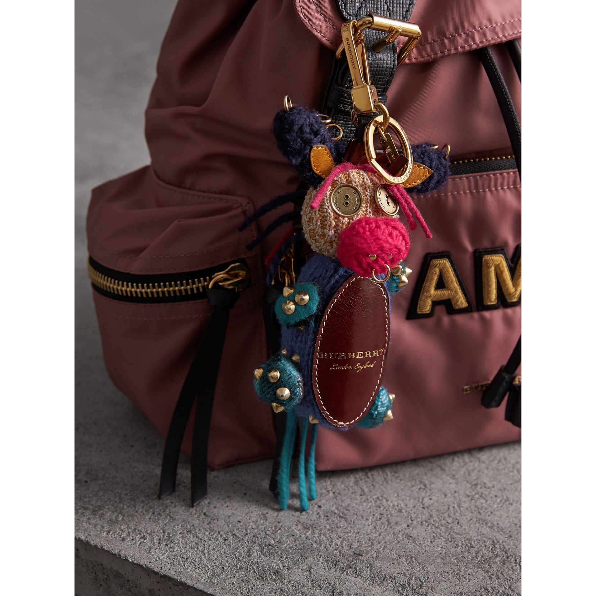 Mabel The Donkey Wool Charm in Navy Multicolour | Burberry - gallery image 3