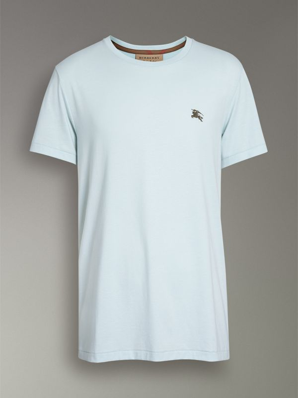 Cotton Jersey T-shirt in Pearl Blue - Men | Burberry Australia - cell image 3
