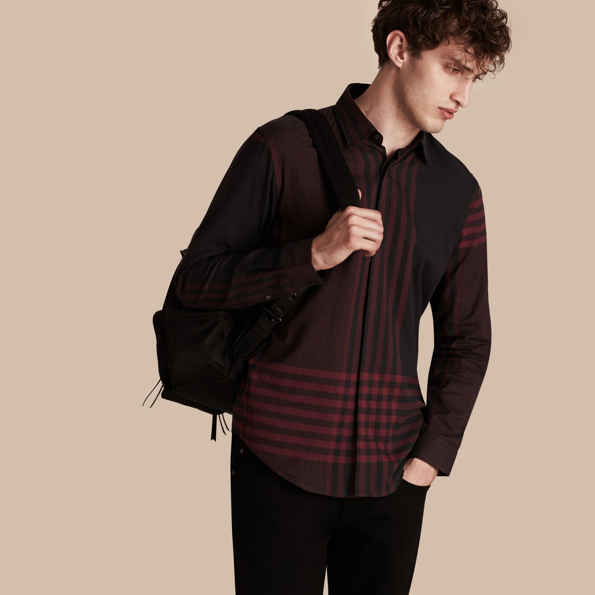 Burgundy red Graphic Check Cotton Shirt Burgundy Red - gallery image 1