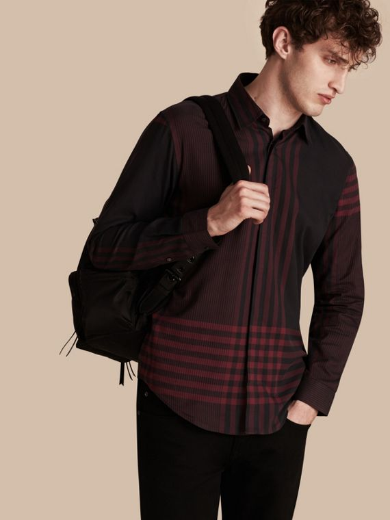 Graphic Check Cotton Shirt Burgundy Red