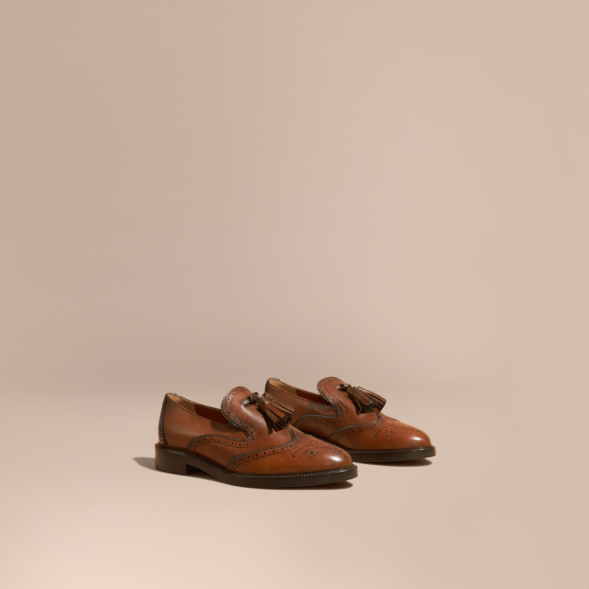 Leather Tassel Loafers Bright Camel - gallery image 1