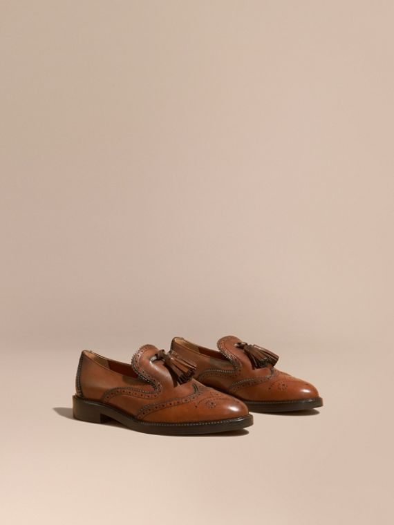 Leather Tassel Loafers Bright Camel