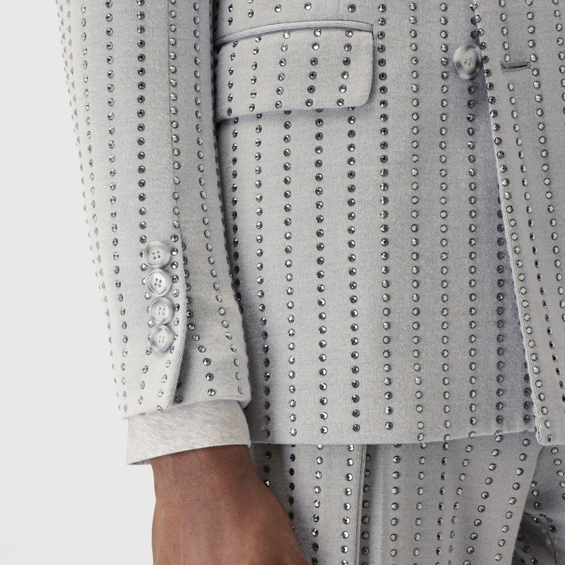 Classic Fit Crystal Pinstriped Tailored Jacket in Light Pebble Grey | Burberry - gallery image 4