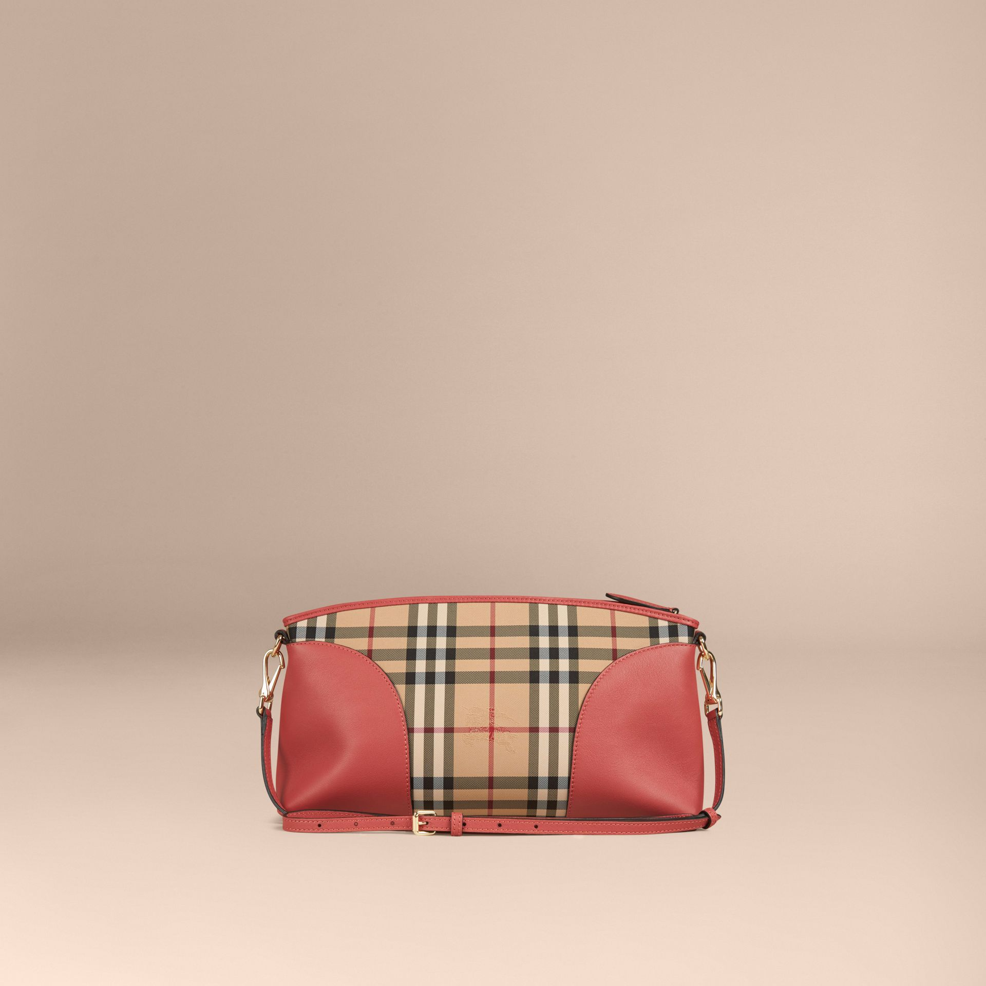 Horseferry Check and Leather Clutch Bag Honey/antique Rose - gallery image 5