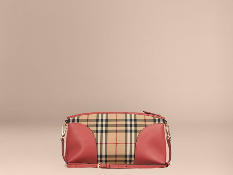 Horseferry Check and Leather Clutch Bag in Honey/antique Rose - cell image 4