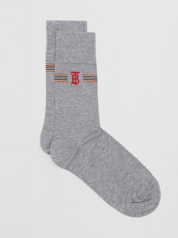 Icon Stripe and Monogram Motif Cotton Blend Socks in Grey Melange   Burberry United Kingdom - cell image 2