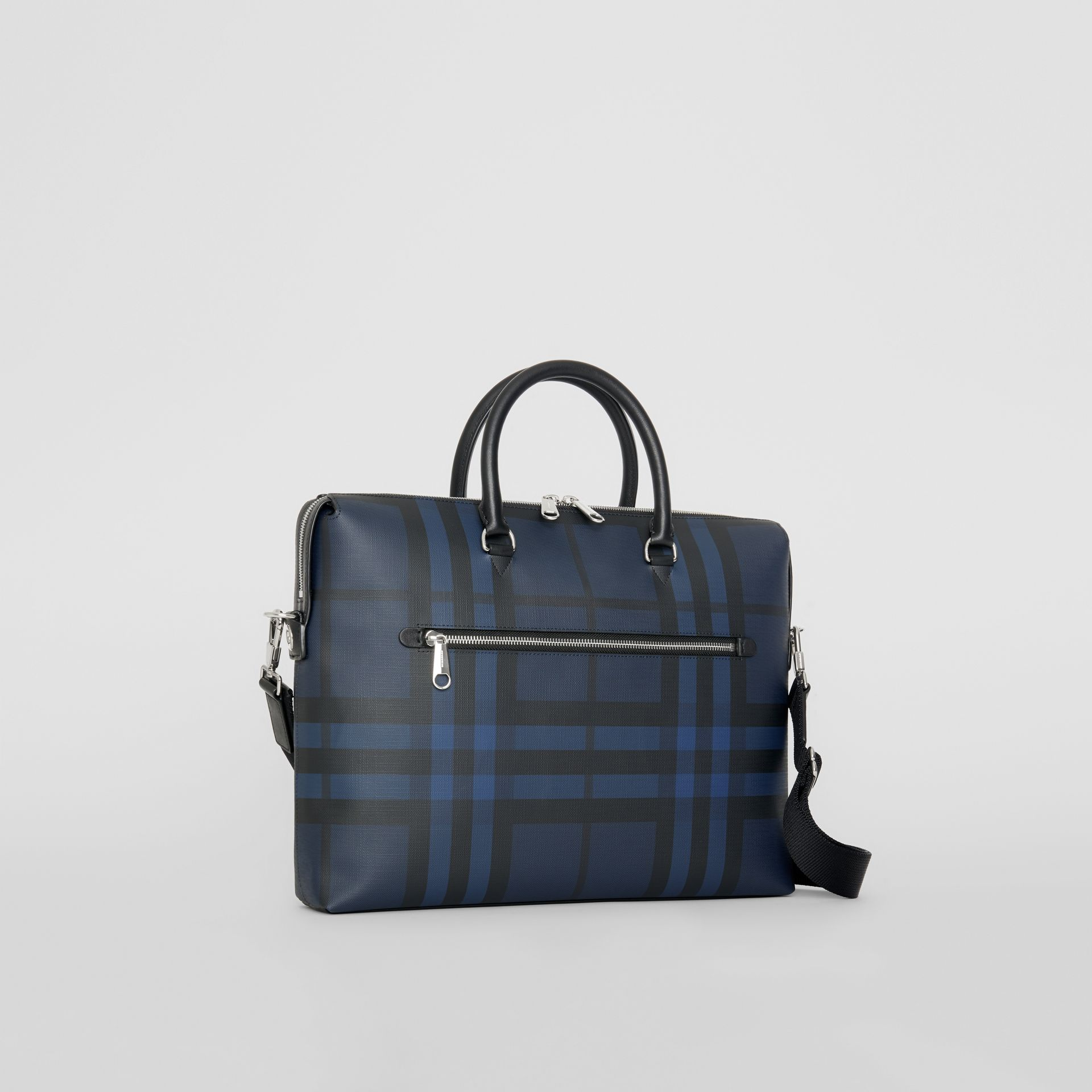 London Check and Leather Briefcase in Navy/black - Men | Burberry Singapore - gallery image 4