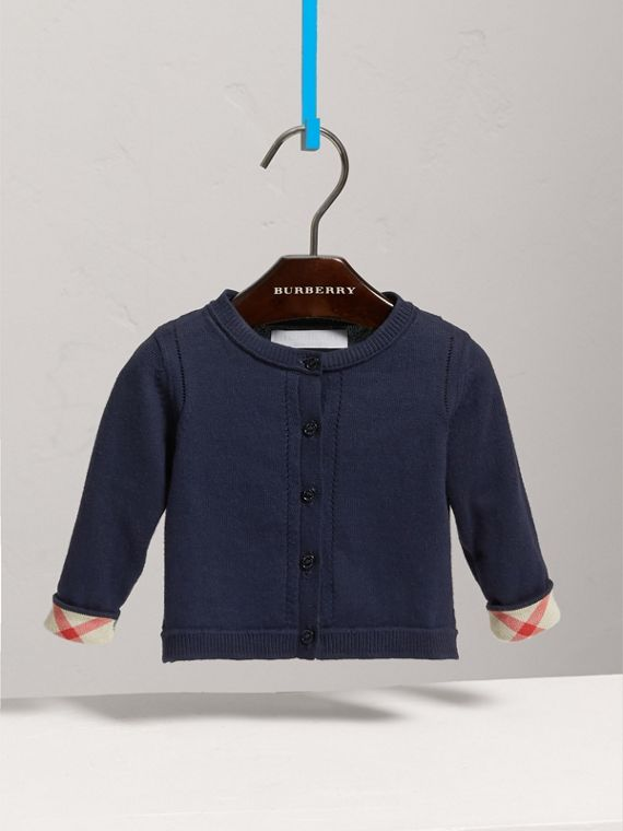 Check Cuff Cotton Cardigan in Navy