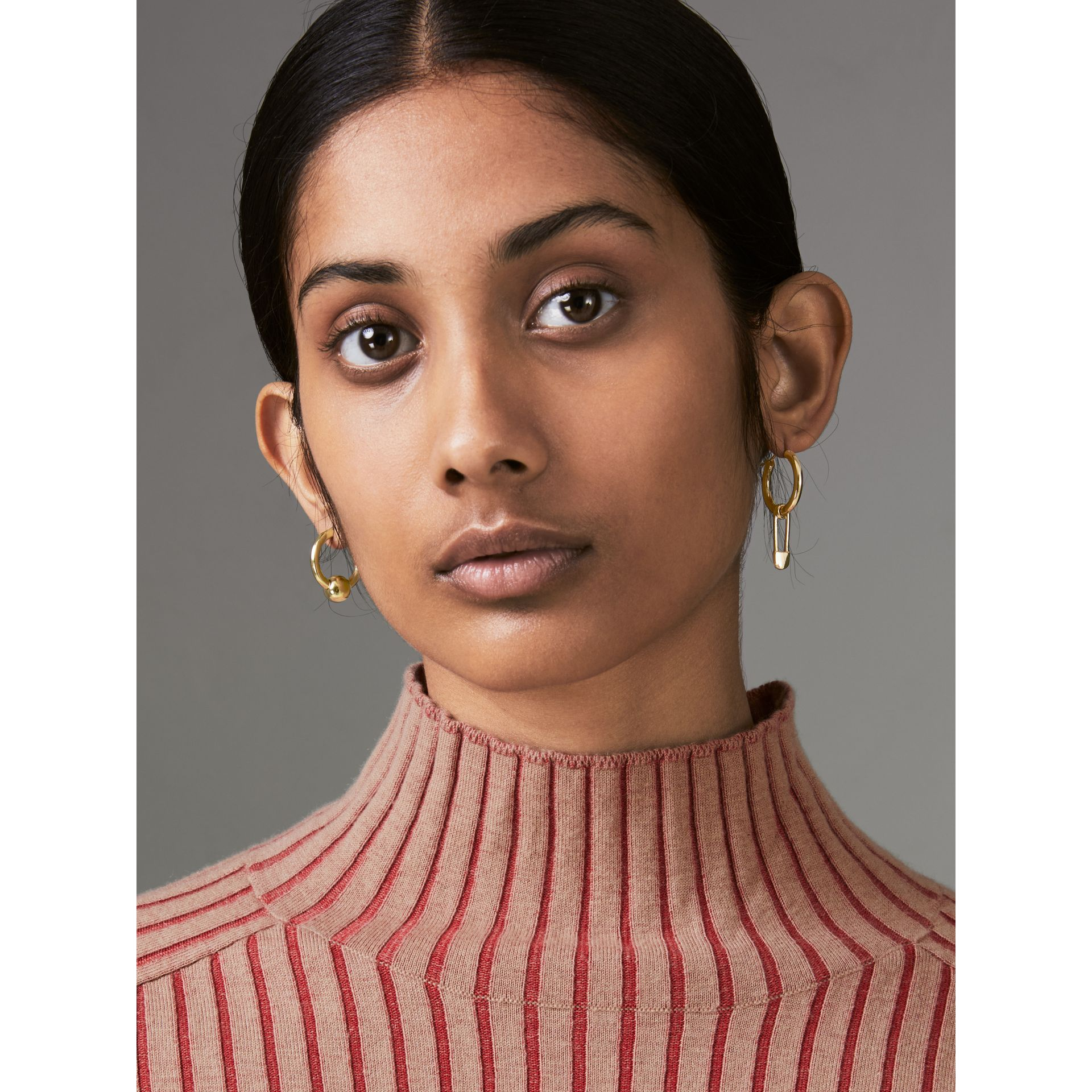 Kilt Pin and Charm Gold-plated Hoop Earrings in Light - Women | Burberry United Kingdom - gallery image 2
