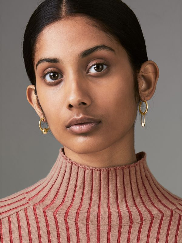 Kilt Pin and Charm Gold-plated Hoop Earrings in Light - Women | Burberry Hong Kong - cell image 2