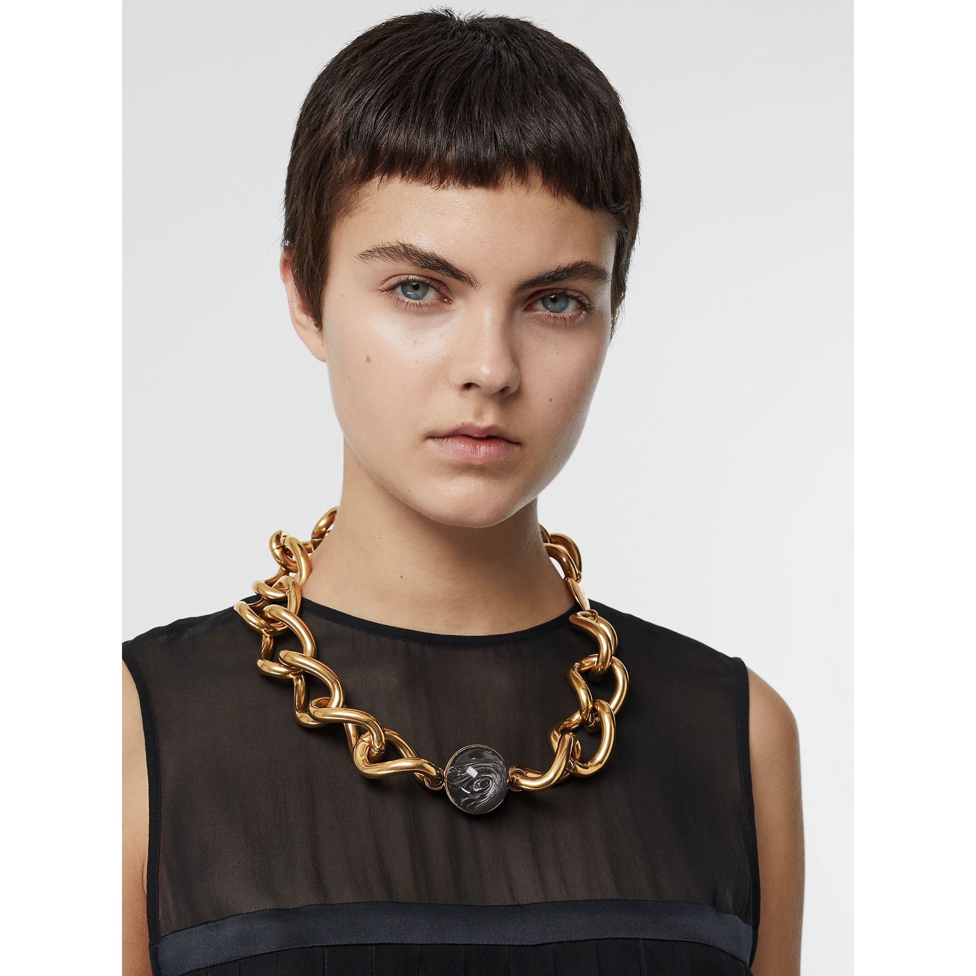 Heart and Marbled Resin Charm Chain Necklace in Vintage Dark Brass - Women | Burberry Australia - gallery image 2