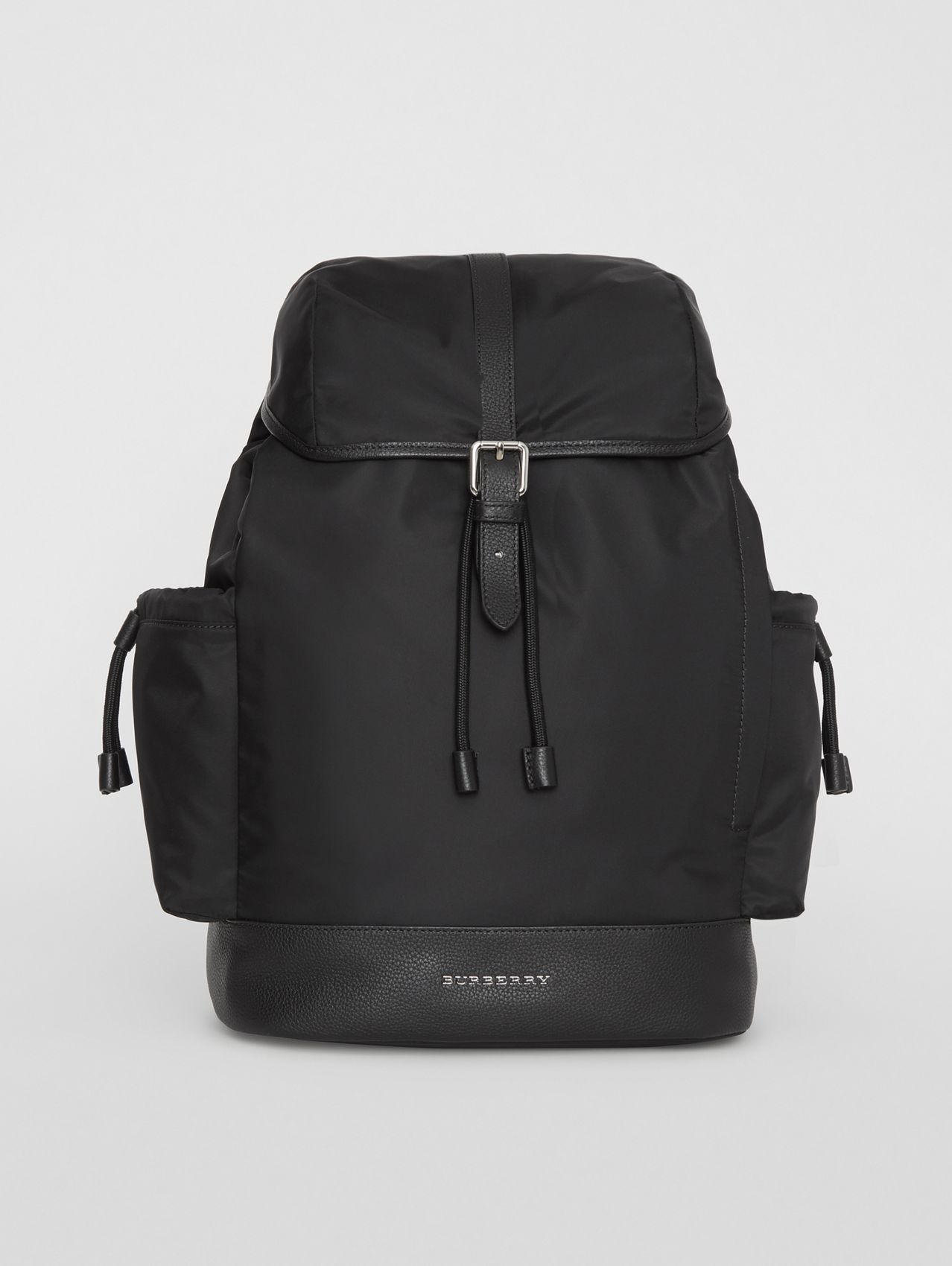 Leather Trim Baby Changing Rucksack in Black