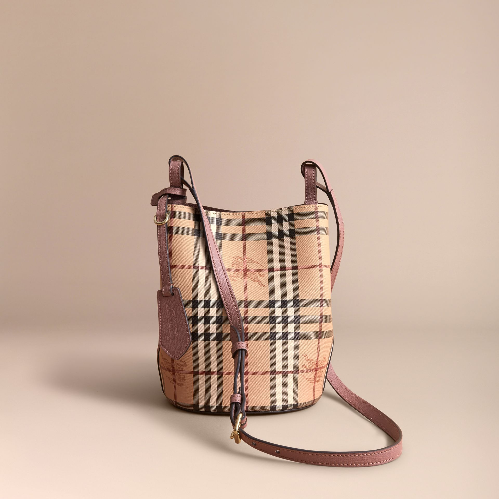 Leather and Haymarket Check Crossbody Bucket Bag in Light Elderberry - Women | Burberry - gallery image 6