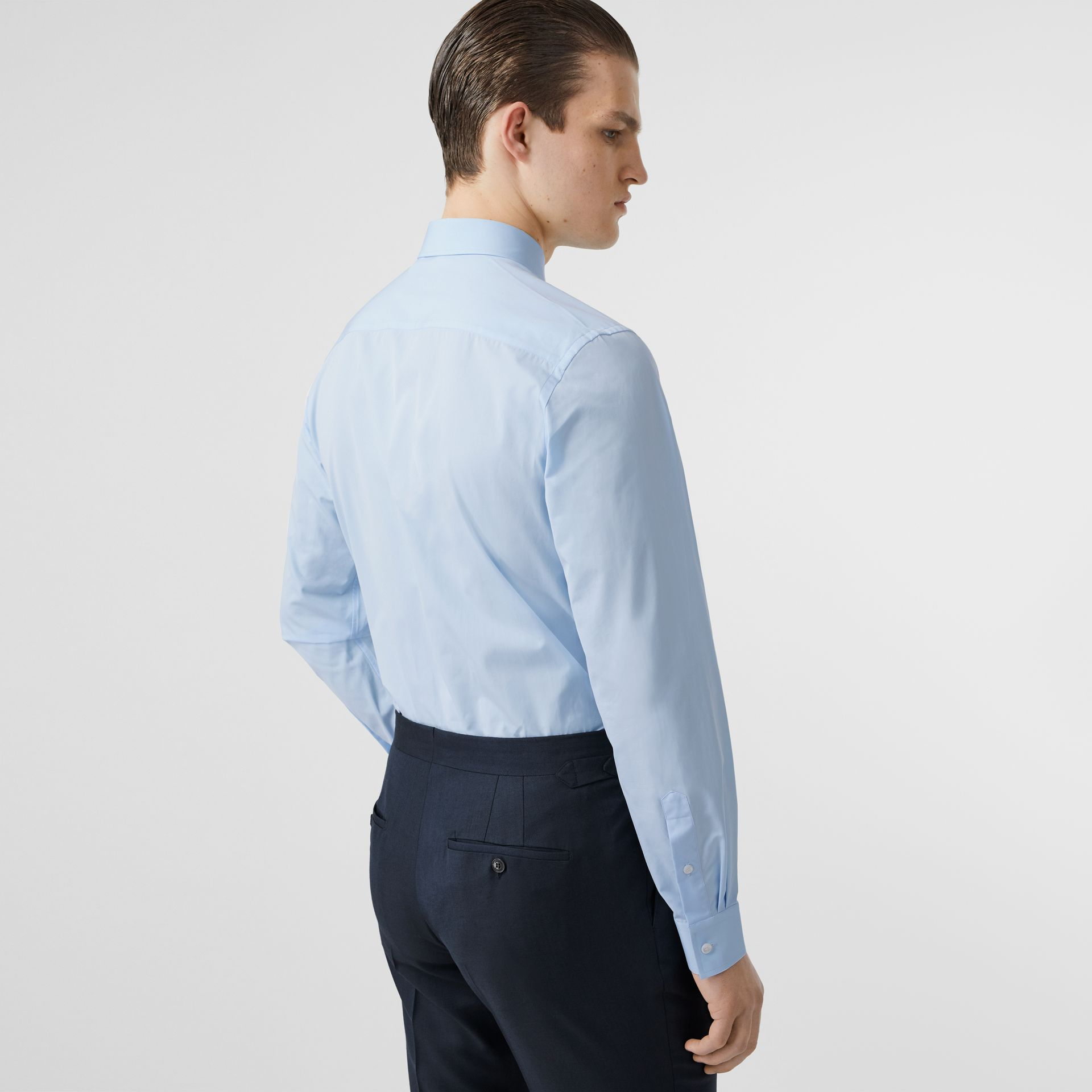 Slim Fit Monogram Motif Cotton Poplin Shirt in Pale Blue - Men | Burberry Singapore - gallery image 2