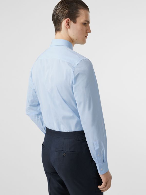 Slim Fit Monogram Motif Cotton Poplin Shirt in Pale Blue - Men | Burberry - cell image 2