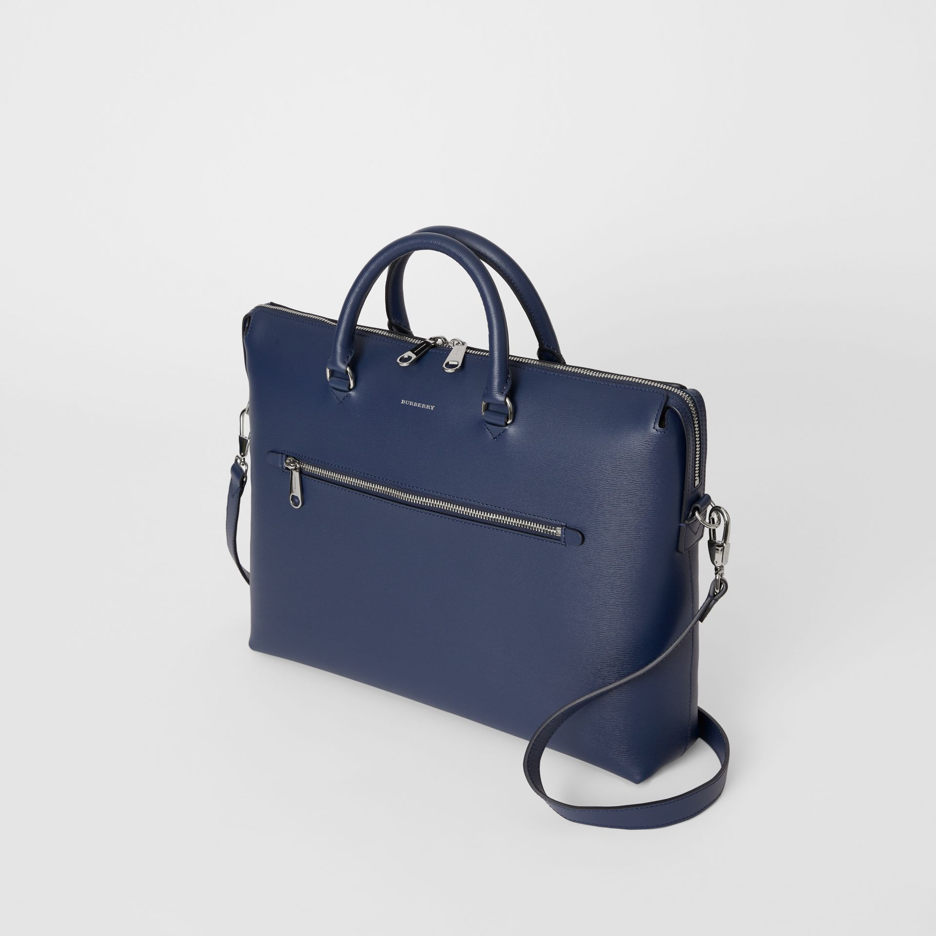 Large Textured Leather Briefcase in Navy - Men | Burberry - gallery image 2