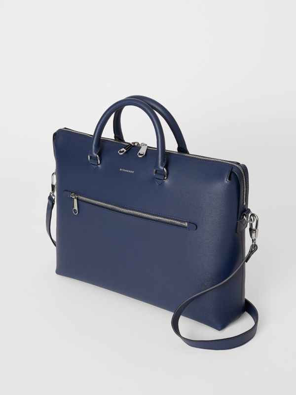 Large Textured Leather Briefcase in Navy - Men | Burberry - cell image 2