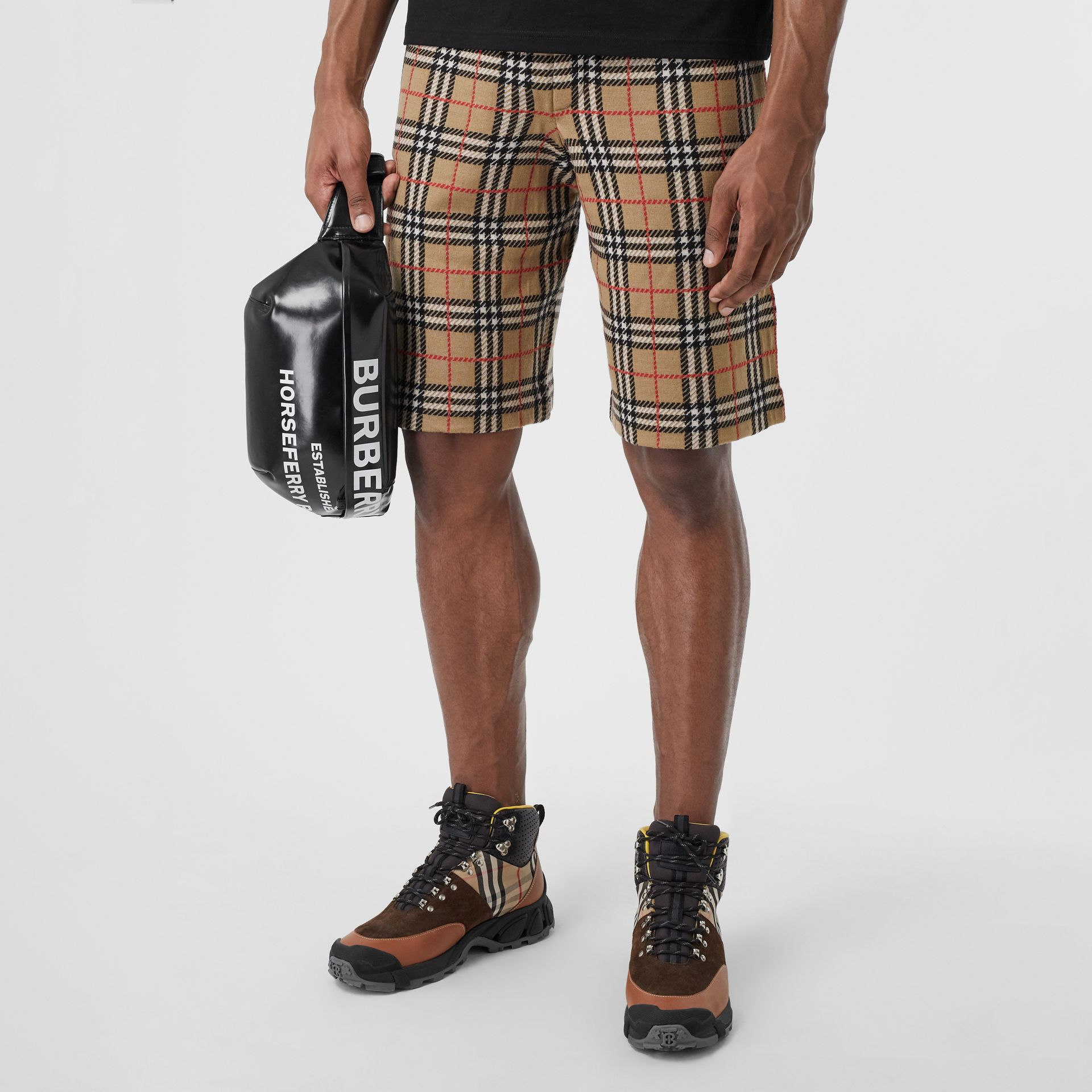 Check Merino Wool Drawcord Shorts in Archive Beige - Men | Burberry United Kingdom - gallery image 3
