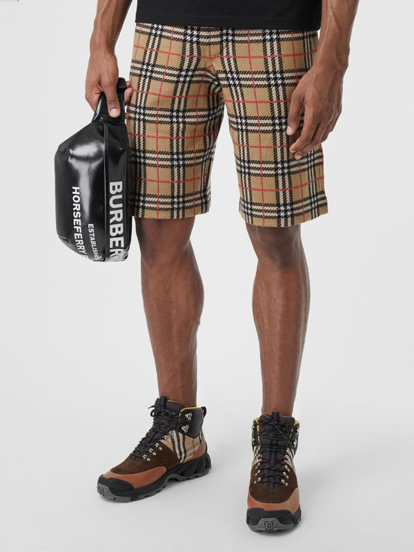 Check Merino Wool Drawcord Shorts in Archive Beige - Men | Burberry Australia - cell image 3