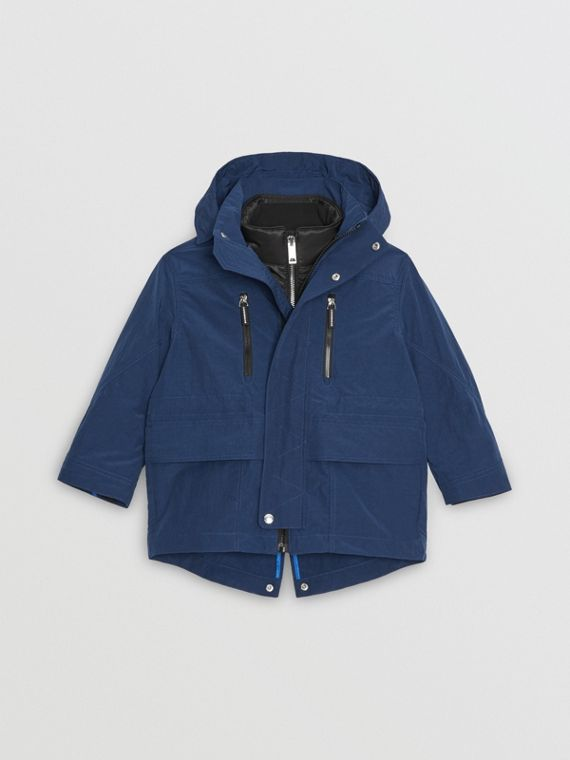 Hooded Parka with Down-filled Quilted Jacket in Bright Navy
