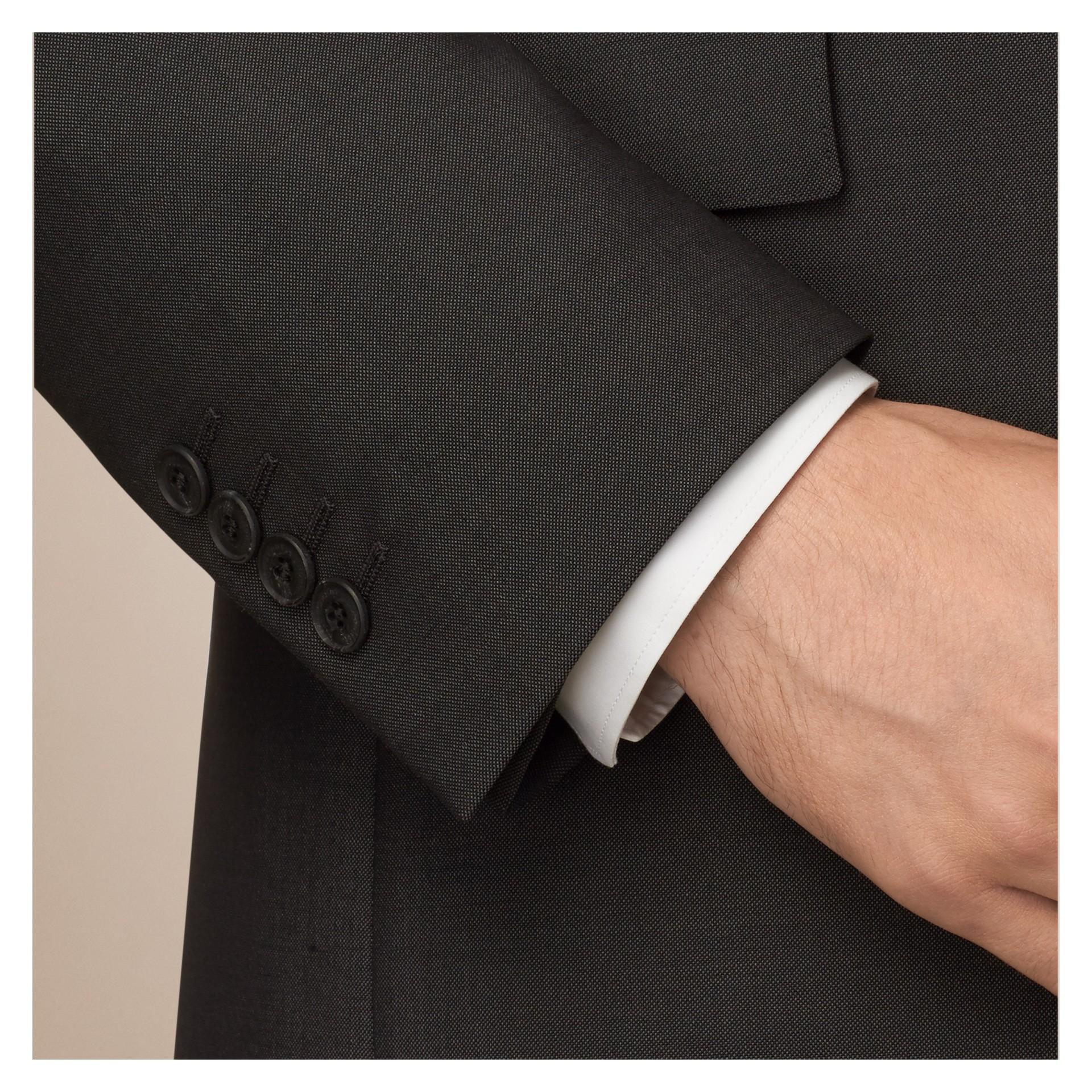 Dark grey Modern Fit Wool Mohair Part-canvas Suit Dark Grey - gallery image 2