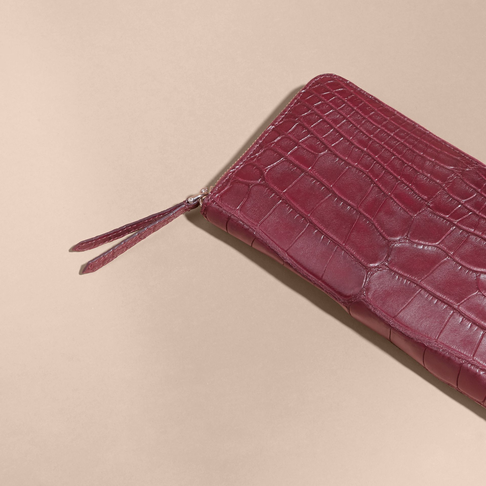 Deep claret Alligator and Leather Ziparound Wallet - gallery image 3