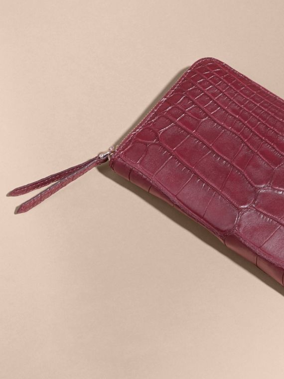 Deep claret Alligator and Leather Ziparound Wallet - cell image 2
