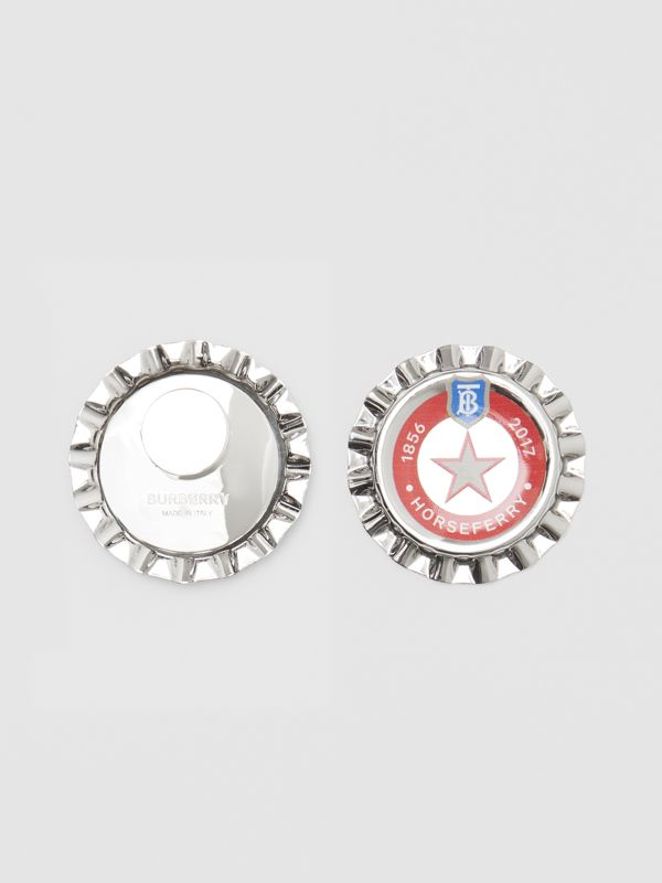 Palladium-plated Bottle Cap Earrings in Palladio | Burberry - cell image 3