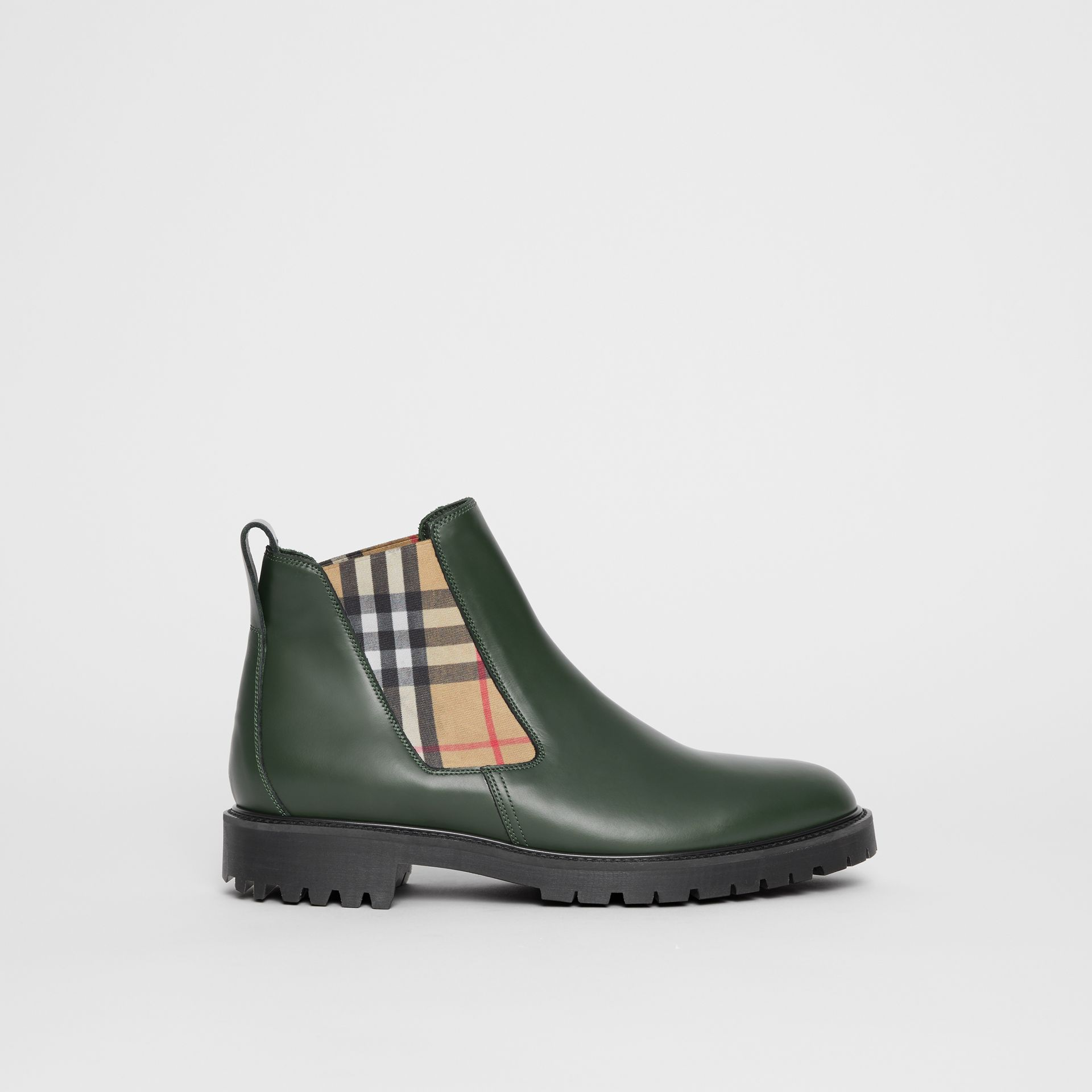 Vintage Check Detail Leather Chelsea Boots in Bottle Green - Men | Burberry United States - gallery image 0