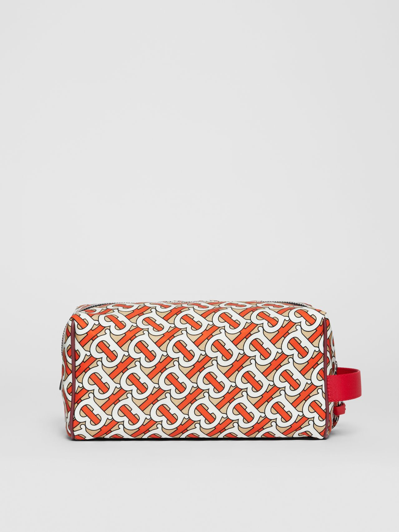 Monogram Print Nylon Travel Pouch in Vermilion